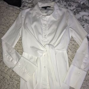 White classy tie in front button up blouse